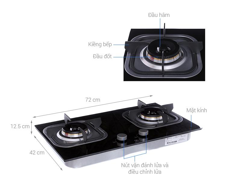 Thông số kỹ thuật Bếp gas âm Electrolux EGT7221EK
