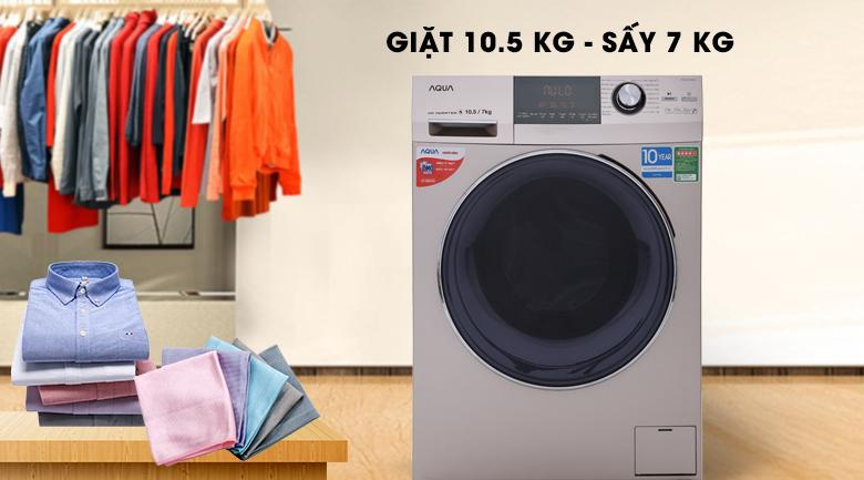 Máy giặt, sấy 2 trong 1 - Máy giặt sấy Aqua Inverter 10.5Kg AQD-DH1050C N