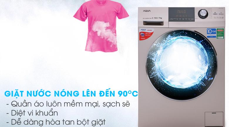 Giặt nước nóng - Máy giặt sấy Aqua Inverter 10.5Kg AQD-DH1050C N