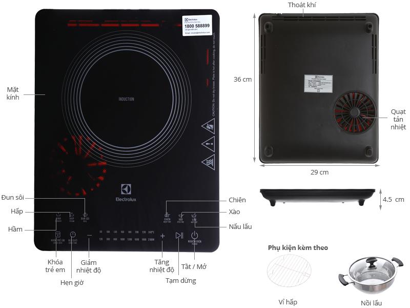 Thông số kỹ thuật Bếp từ Electrolux ETD42SKR